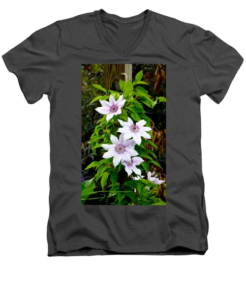 White With Purple Flowers 2 Men's V-Neck T-Shirt