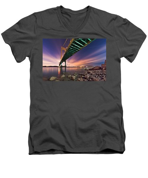 Whitestone Bridge Men's V-Neck T-Shirt by Mihai Andritoiu