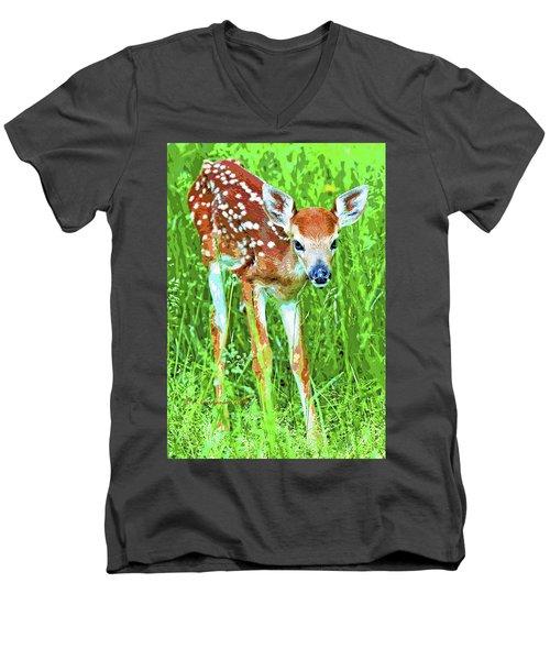 Whitetailed Deer Fawn Digital Image Men's V-Neck T-Shirt