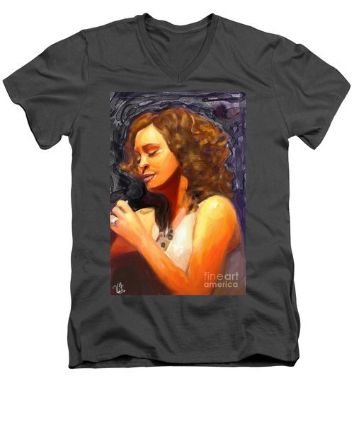 Men's V-Neck T-Shirt featuring the painting Whitney Gone Too Soon by Vannetta Ferguson