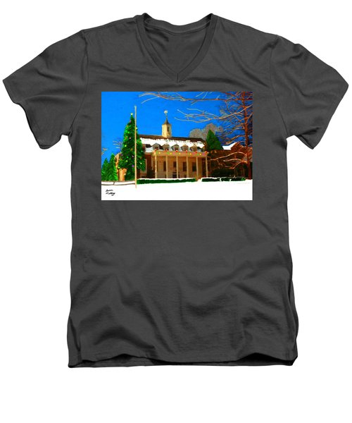 Whittle Hall At Christmas Men's V-Neck T-Shirt by Bruce Nutting