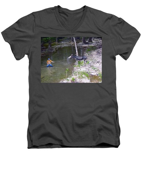 Men's V-Neck T-Shirt featuring the photograph Who Is More Stubborn by John Glass