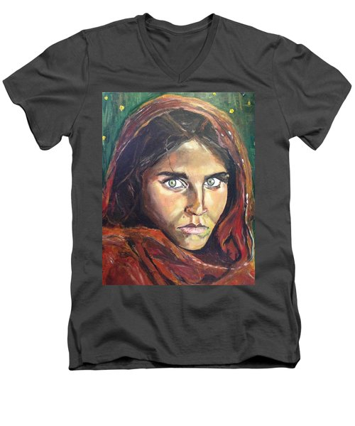 Men's V-Neck T-Shirt featuring the painting Who's That Girl? by Belinda Low