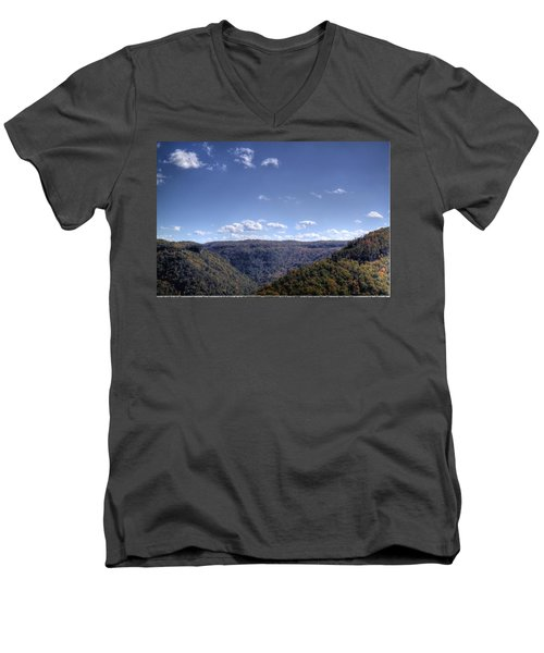Wide Shot Of Tree Covered Hills Men's V-Neck T-Shirt