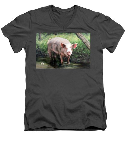 Men's V-Neck T-Shirt featuring the painting Wilbur In His Woods by Sandra Chase