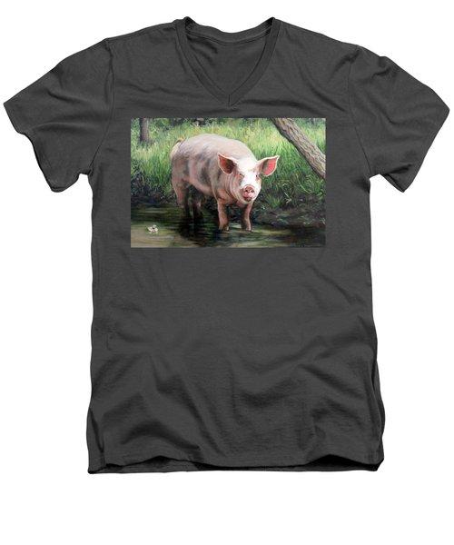Wilbur In His Woods Men's V-Neck T-Shirt