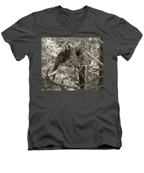 Men's V-Neck T-Shirt featuring the photograph Wild Hawaiian Parrot Sepia by Joseph Baril