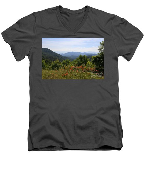 Wild Lilies With A Mountain View Men's V-Neck T-Shirt
