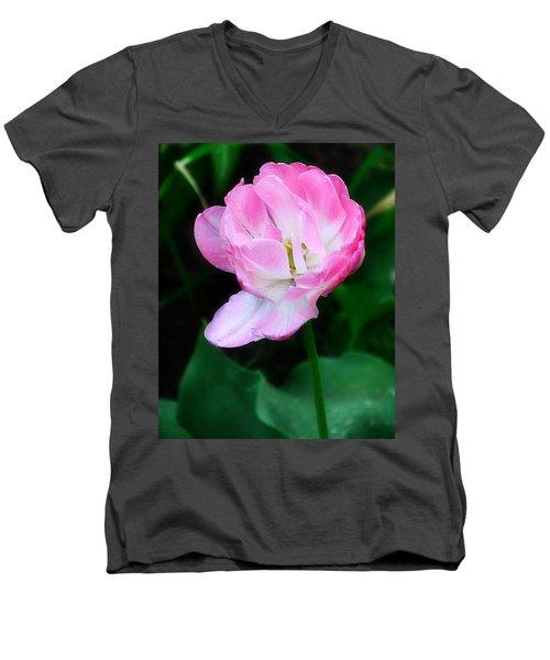 Wild Pink Rose Men's V-Neck T-Shirt