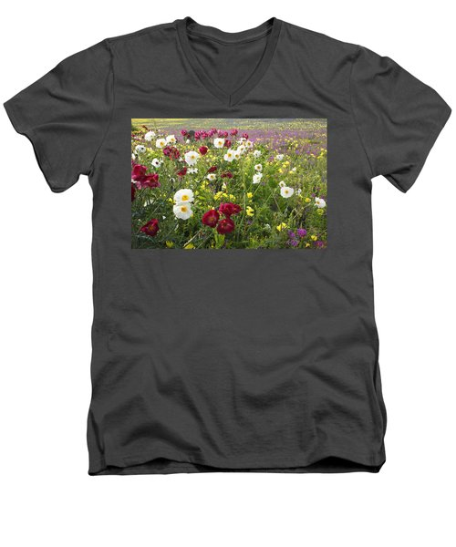 Wild Poppies South Texas Men's V-Neck T-Shirt
