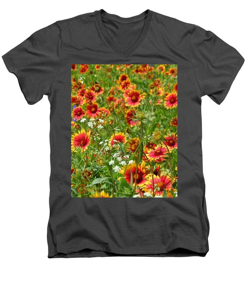 Men's V-Neck T-Shirt featuring the photograph Wild Red Daisies #2 by Robert ONeil
