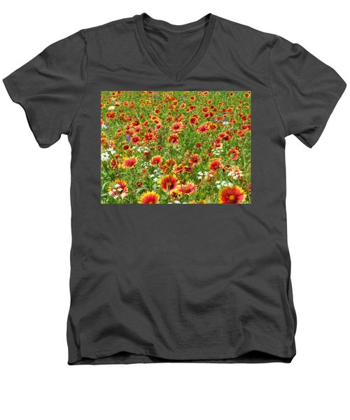 Men's V-Neck T-Shirt featuring the photograph Wild Red Daisies #3 by Robert ONeil