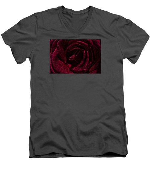 Wild Rose Men's V-Neck T-Shirt by Kathy Churchman