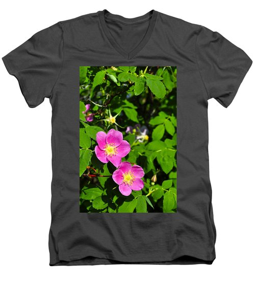 Men's V-Neck T-Shirt featuring the photograph Wild Roses by Cathy Mahnke