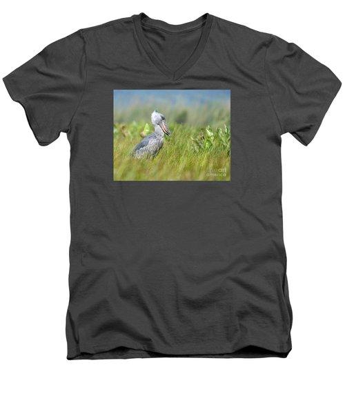 Men's V-Neck T-Shirt featuring the photograph Wild Shoebill Balaeniceps Rex  by Liz Leyden