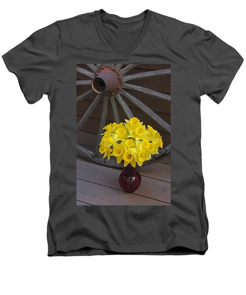 Men's V-Neck T-Shirt featuring the photograph Wild West Daffodils by Diane Alexander