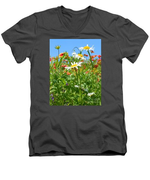 Men's V-Neck T-Shirt featuring the photograph Wild White Daisies #2 by Robert ONeil