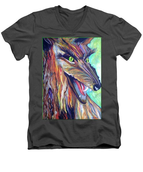 Men's V-Neck T-Shirt featuring the drawing Wild Wolf by Daniel Janda