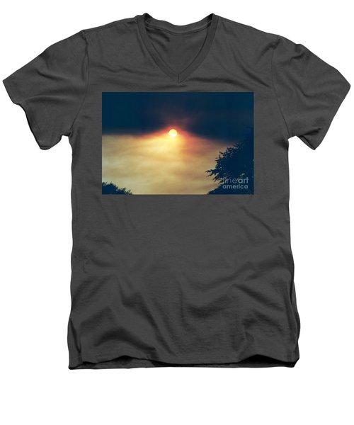 Men's V-Neck T-Shirt featuring the photograph Wildfire Smoky Sky by Kerri Mortenson