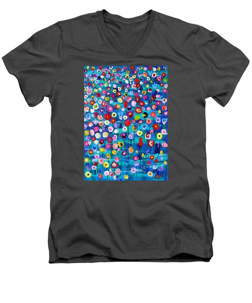 Men's V-Neck T-Shirt featuring the painting Wildflower Fiesta by Brenda Pressnall