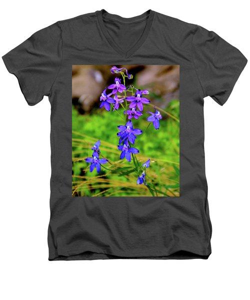 Wildflower Larkspur Men's V-Neck T-Shirt