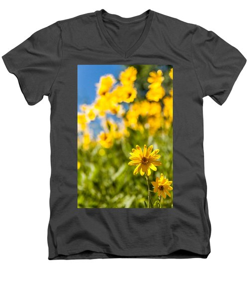 Wildflowers Standing Out Abstract Men's V-Neck T-Shirt