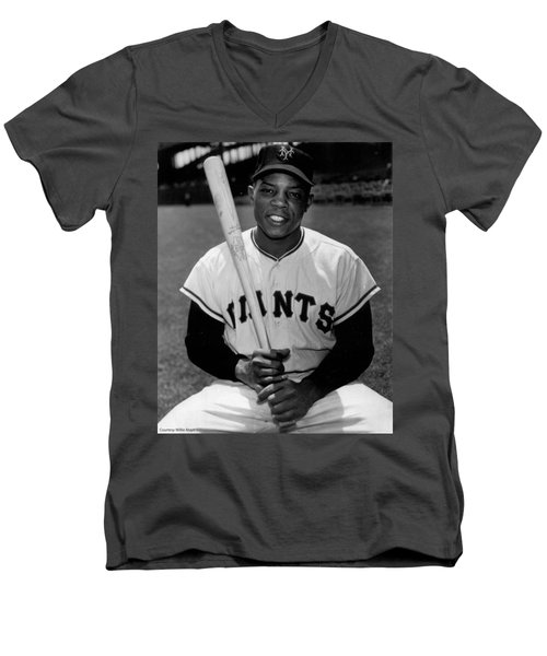 Willie Mays Men's V-Neck T-Shirt by Gianfranco Weiss