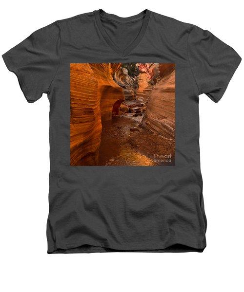 Willis Creek Slot Canyon Men's V-Neck T-Shirt by Robert Bales