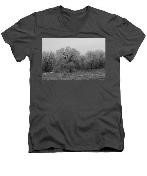 Willow Trees Iced B/w Men's V-Neck T-Shirt