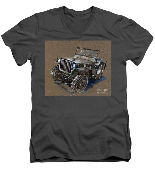 Willys Car Drawing Men's V-Neck T-Shirt