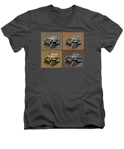 Willys Jeep Mb Car Drawing Men's V-Neck T-Shirt