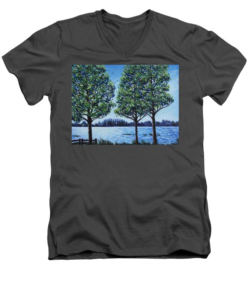 Men's V-Neck T-Shirt featuring the painting Wind In The Trees by Penny Birch-Williams
