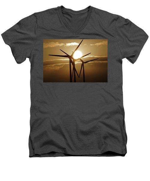 Wind Turbines Silhouette Against A Sunset Men's V-Neck T-Shirt