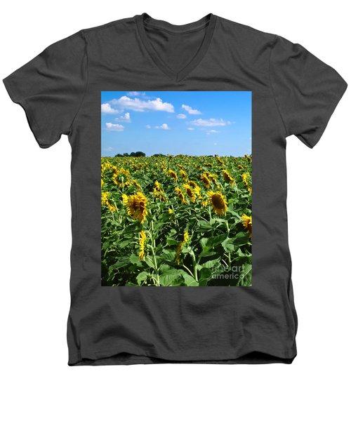 Windblown Sunflowers Men's V-Neck T-Shirt by Robert Frederick