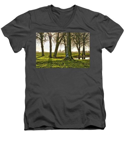 Windmill And Trees In Groningen Men's V-Neck T-Shirt