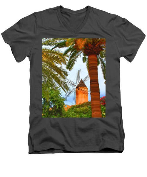 Windmill In Palma De Mallorca Men's V-Neck T-Shirt