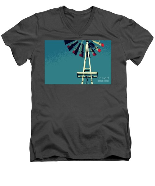 Men's V-Neck T-Shirt featuring the digital art Windmill by Valerie Reeves