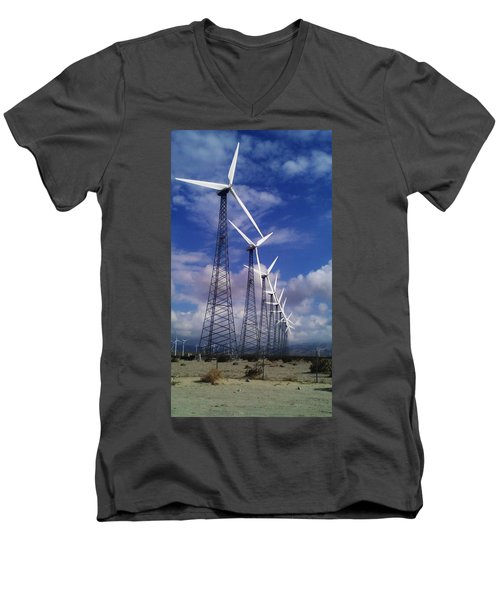 Men's V-Neck T-Shirt featuring the photograph Windmills by Chris Tarpening