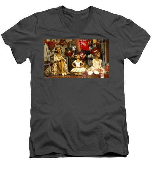 Window Shopping Men's V-Neck T-Shirt by Leena Pekkalainen