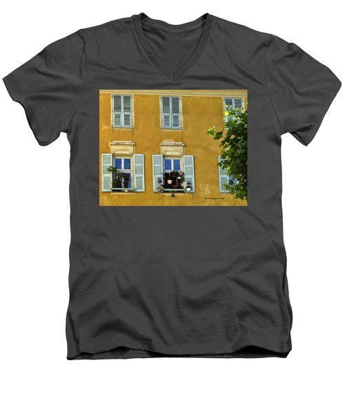 Men's V-Neck T-Shirt featuring the photograph Windowboxes In Nice France by Allen Sheffield