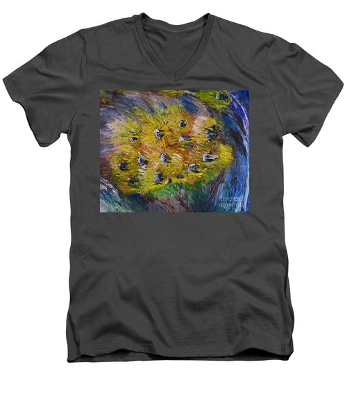 Men's V-Neck T-Shirt featuring the painting Windy by Laurie L