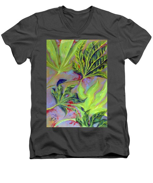Men's V-Neck T-Shirt featuring the pastel Windy by Susan Will