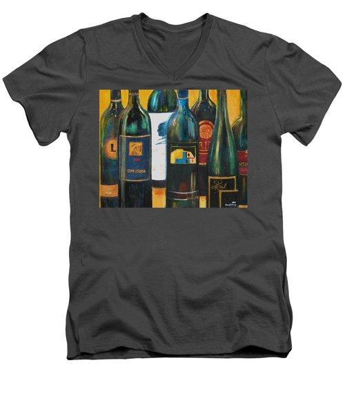 Wine Bar Men's V-Neck T-Shirt by Sheri  Chakamian