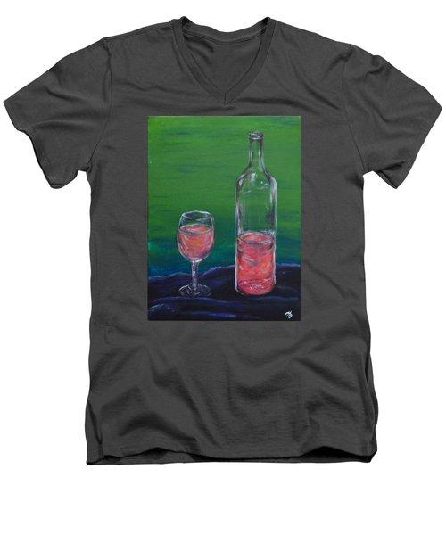 Wine Glass And Bottle Men's V-Neck T-Shirt