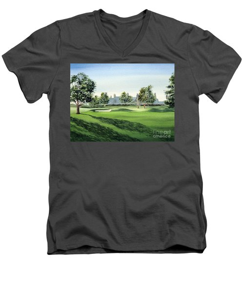 Men's V-Neck T-Shirt featuring the painting Winged Foot West Golf Course 18th Hole by Bill Holkham