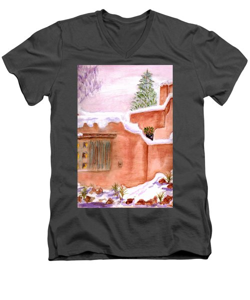 Men's V-Neck T-Shirt featuring the painting Winter Adobe by Paula Ayers