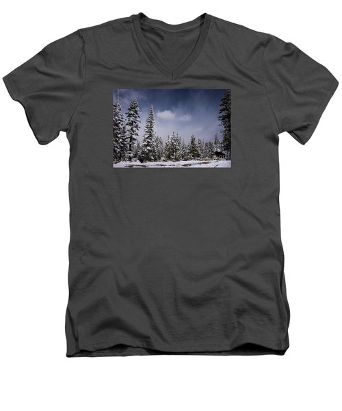 Men's V-Neck T-Shirt featuring the photograph Winter Again by Janis Knight