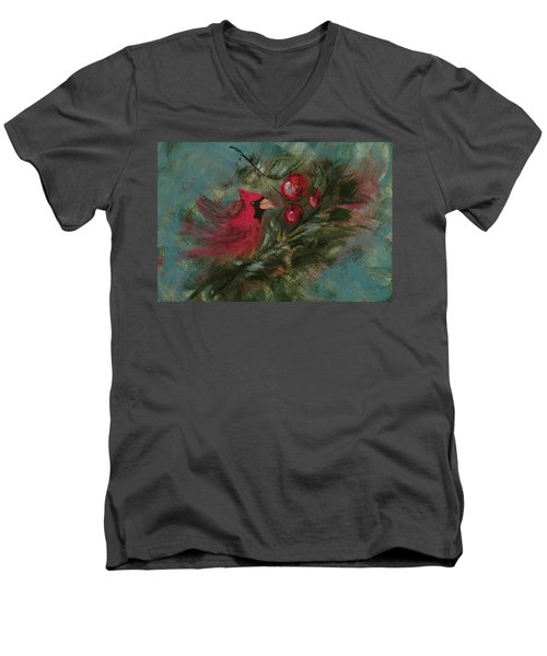 Winter Berries Men's V-Neck T-Shirt by Lee Beuther