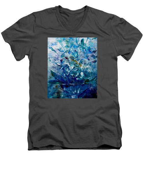 Men's V-Neck T-Shirt featuring the painting Winter Bouquet by Lisa Kaiser