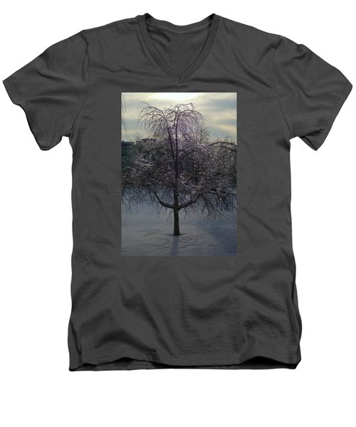 Winter Candelabrum Men's V-Neck T-Shirt by Henryk Gorecki